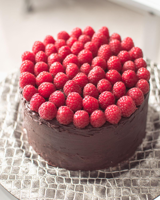 chokladtårta med hallon recept