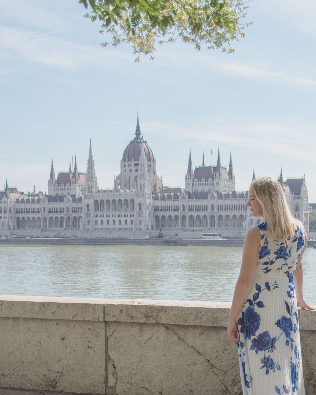 Woman watching the Hungarian Parliament from opposite the Danube