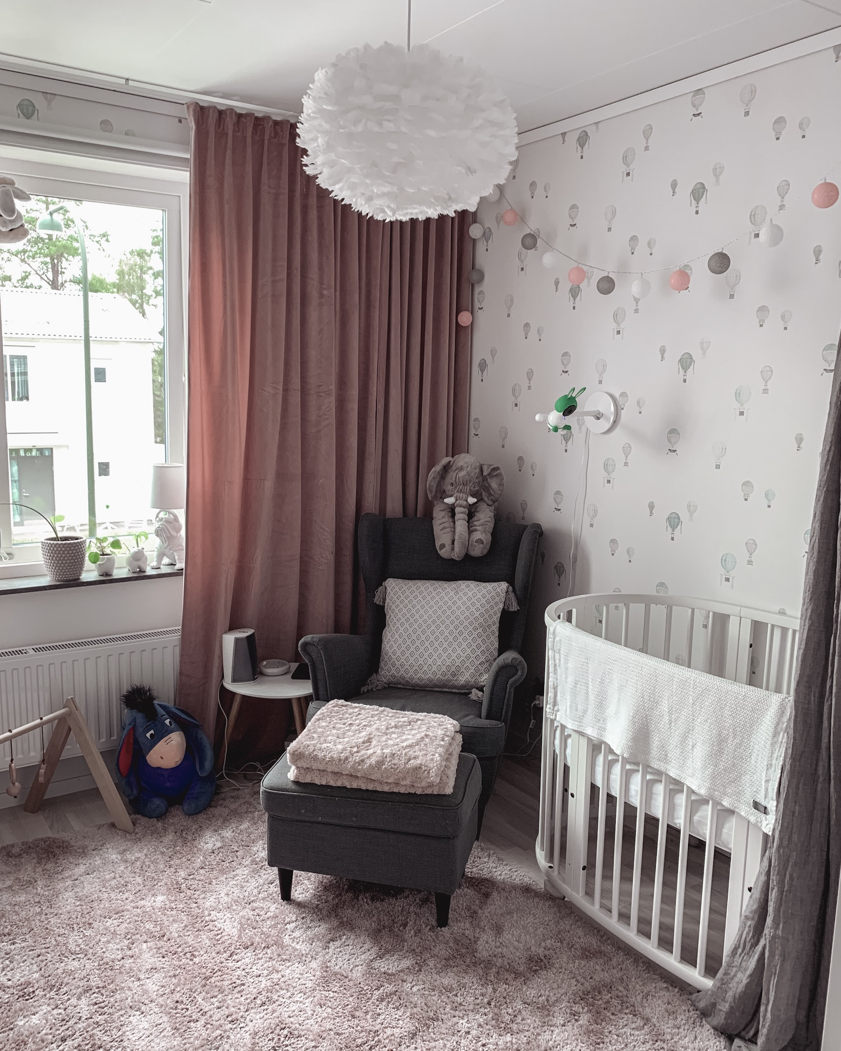 Ikea Svansmo armchair and Stokke Sleepi Crib
